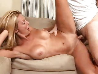 Big Titty rides a dong on kitchen floor