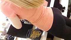 Blond teen in yoga pants showing her bubble butt