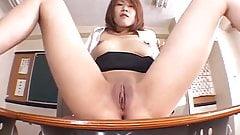 Aya Sakurai puts cream on slit in classroom