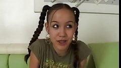 Cute pigtail teen Amai Liu gets cock