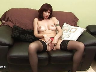 English housewife mom playing with herself
