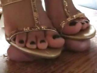 Shoejob red nailed mature feet crushs balls