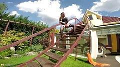 Kinky mommy piss on stairs and masturbates on backyard