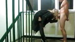 Him & Her Sex In Public Stairwell