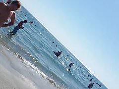 Spy beach boobs woman romanian