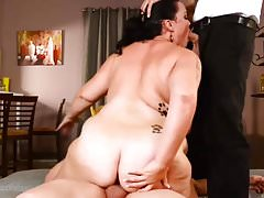 slutty bbw milf getting fucked by two guys