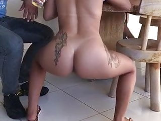 brazilian hot girl nude twerking in a public bar