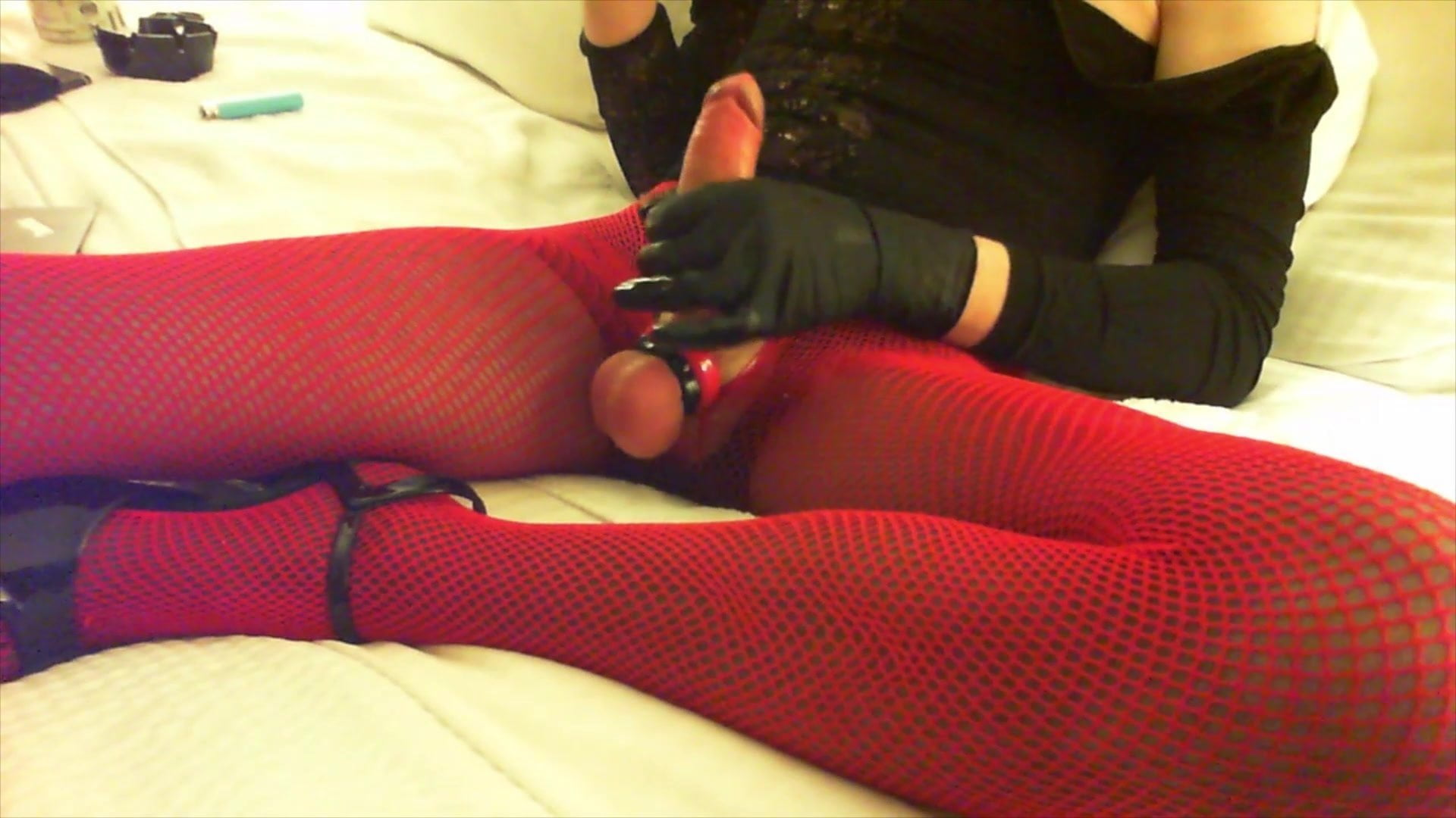 Smoking and stroking in fishnets