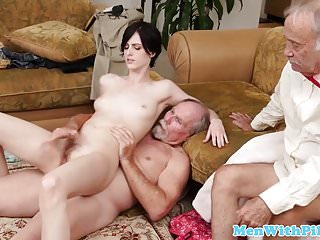 Anal Fingered Girlnextdoor Rides Grandpa Cock