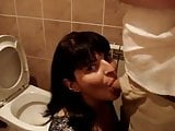 wife unfaithful to her husband in the bathroom of the club