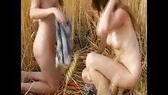 Cute lesbian models having fun outdoor