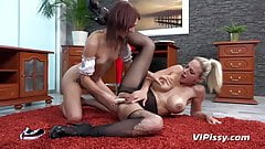 Big tit boss pees on submissive maid - Pissing Lesbians