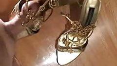 Fucking wife's highheels - Golden Sandals