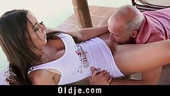 Super hot siliconed Julie puts his old butler to fuck her