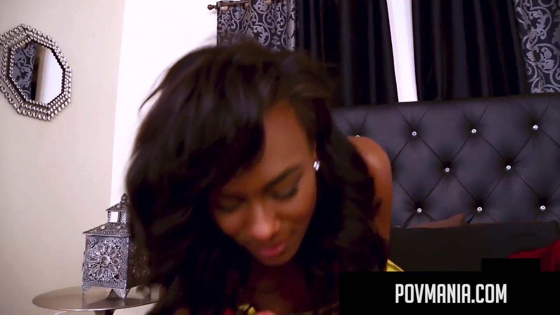 POVMania.com— Dark Skinned Akyra Lee Mouth Fucks Miles Long