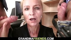 Old skinny blonde granny doubl