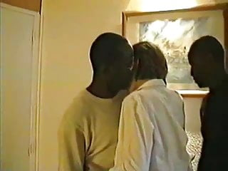Victoria, French wife blindfolded with 3 blacks, Part-1