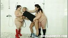BBW dominatrices queening a voyeur guy in the shower