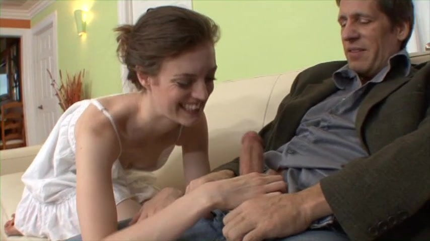 Young slender brunette babe on couch sucking and fucking stepdad's dick