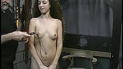 Long-haired brunette with perky small tits gets a hiding from old dude