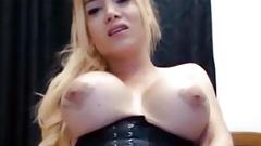 Big melons blonde tgirl cumshot webcam