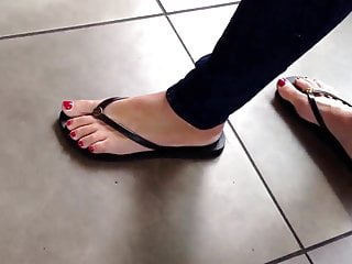 Candid Pretty Blondes Feet at Coffee Shop