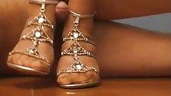 Silver sandals cumshot