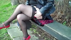 black seamed fishnet stockings and red heels's Thumb