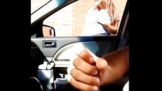 Busty sees me make me a handjob inside my car