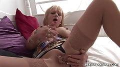 Mature British blonde takes on FAT vibrator