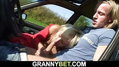 Young stud fucks old 80 yo blonde granny roadside
