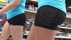 Double PAWG Spandex Shorts Nice Ass
