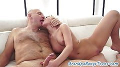 Teen babe bounces on oldmans hard cock