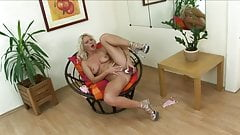 Blonde Girl in Heels Toys With Pussy