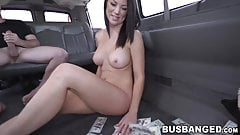 Amateur tattooed babe gets picked up and has sex in a van