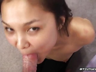 Petite young Japanese lady sucks a dick in a hot POV scene
