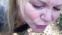 Blonde Milf blowjop in public
