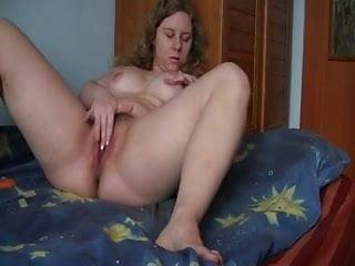 Hairy chubby girl playing alone