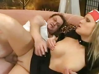 Busty blonde in nurse uniform fucks old man