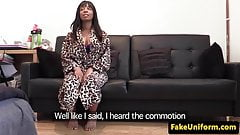Ebony babe rims officer after riding his cock