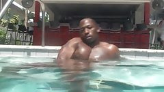 Str8 black guy wanks by the pool