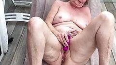 MILF Naked Masturbation on the Deck