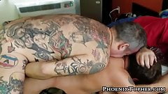 Big tattooed bear pounding Topher Phoenix from behind