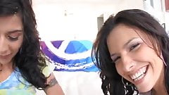 two sexy girls suck cock, get facialed an play with th cum