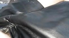 Vacuuming my cock in leather jackets
