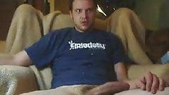Matt jerking his big uncut cock