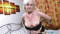 EuropeMaturE Blonde Lady is Playing on the Bed's Thumb