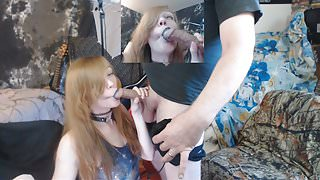 Roxy and Lee Camming blow job and fuck, blue lipstick