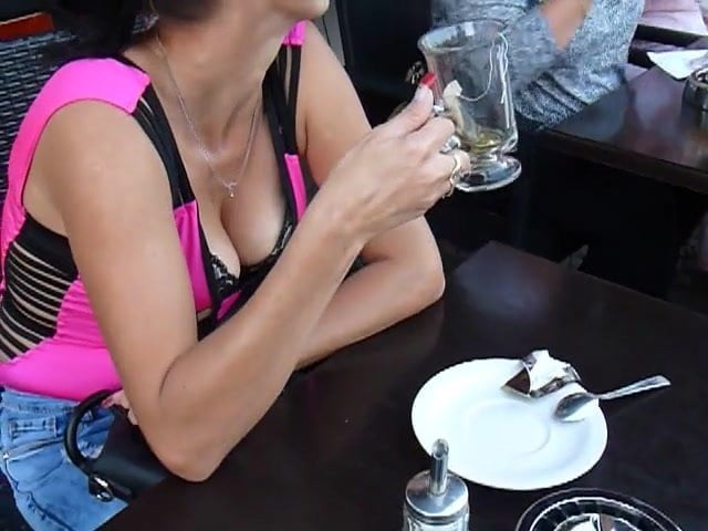 Free download & watch woman at cafe with boobs hanging out juicy cleavage         porn movies
