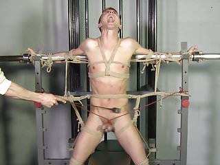 Beautiful Lean Twink Roped Gay Bondage BDSM C&B Torture